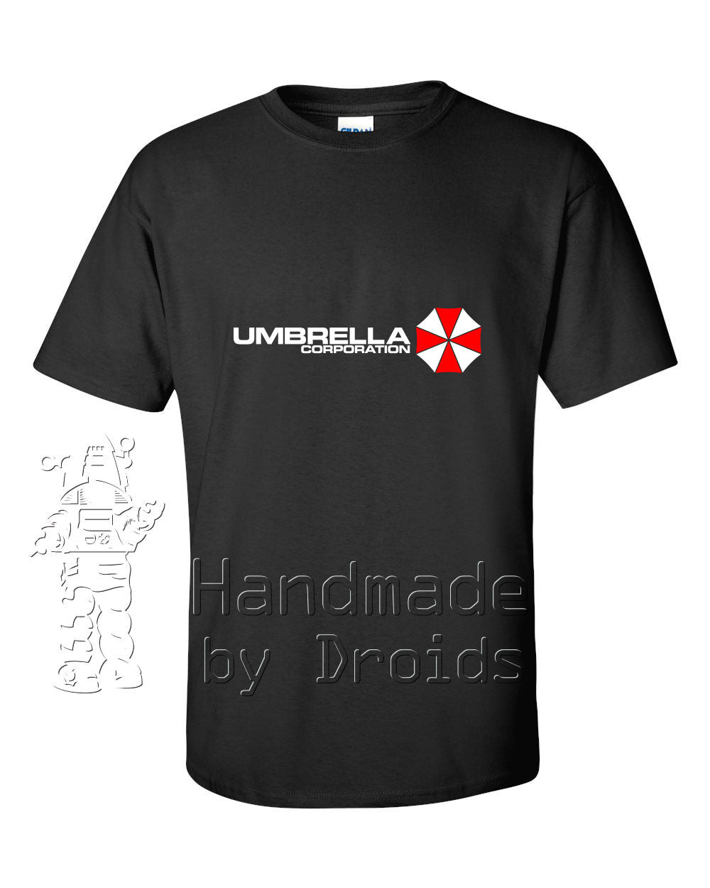 Umbrella Corporation Logo Tee (white and red on black)