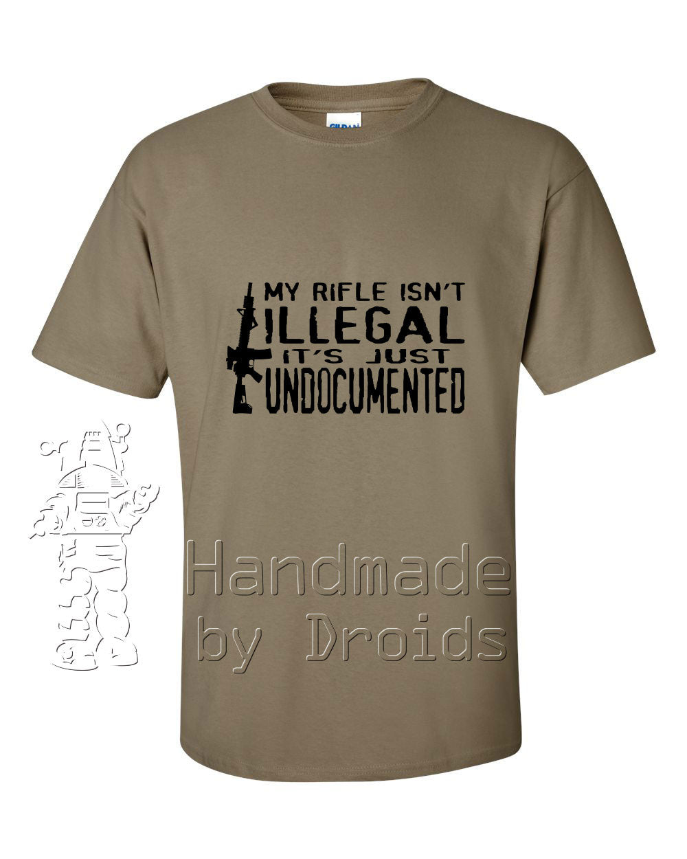 Undocumented Rifle Tee (black on dark earth)