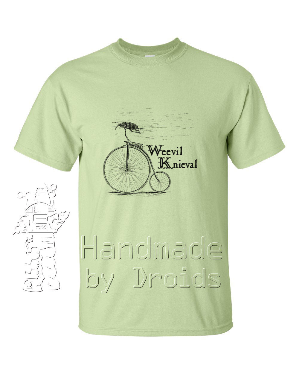 Weevil Knieval Pennyfarthing Tee (black on pistachio)