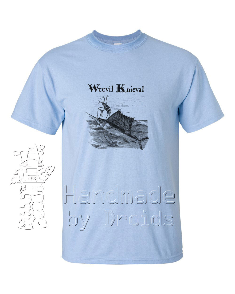 Weevil Knieval Sailfish Tee (black on light blue)