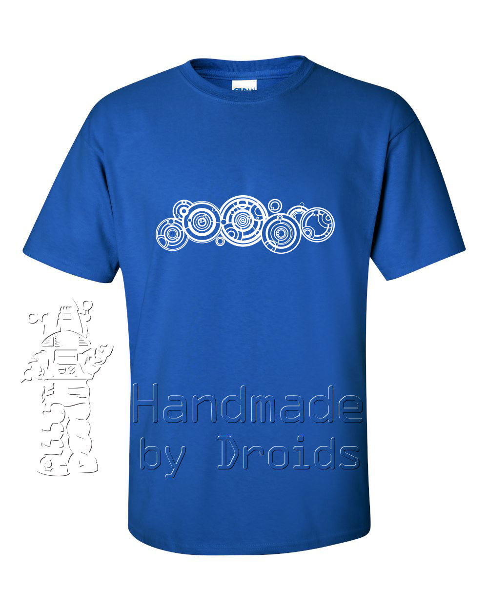 Doctor Who Circular Gallifreyan Tee (white on royal blue)