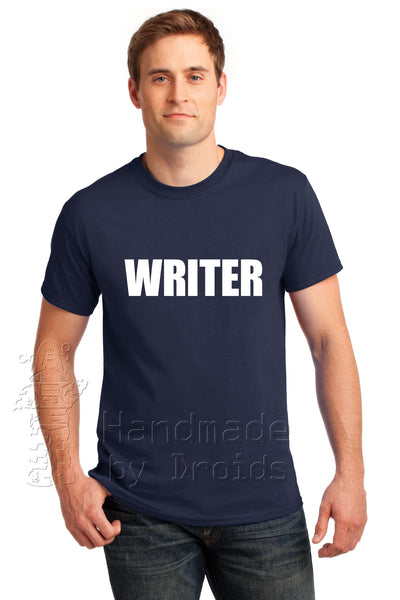 "Castle ""WRITER"" Tee (white on navy blue)"