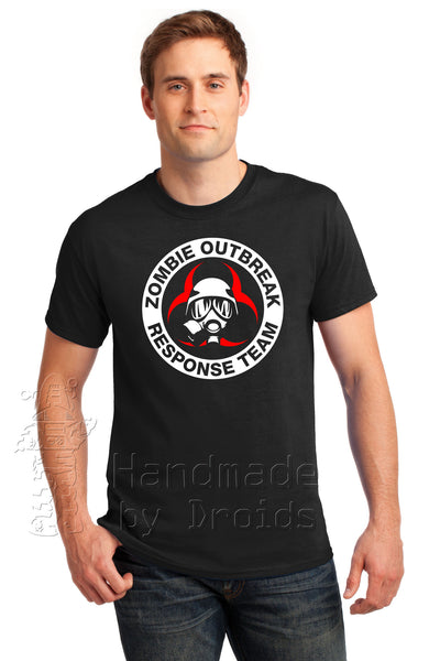 """Zombie Outbreak Response Team"" gasmask Tee (red and white on black)"
