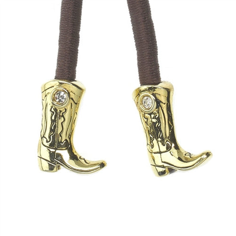 Metal- Boot Gold Crystal Accent