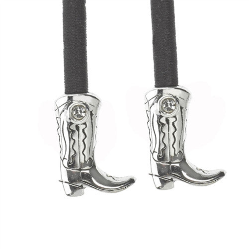SilverBoot Crystal Accent Charms on Black Elastic Cord with Silver-tone Pulleez Clasp