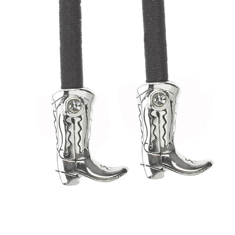 Metal- Boot Silver Crystal Accent