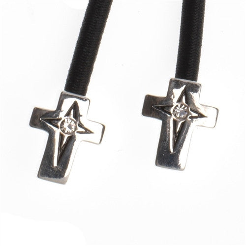 Pulleez sliding ponytail holder with silver cross charm