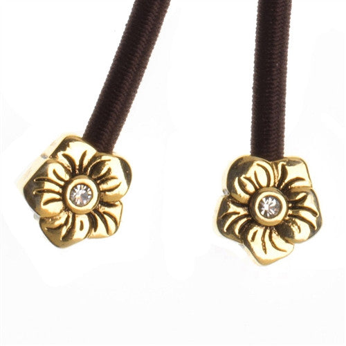 Pulleez sliding ponytail holder with gold flower charms
