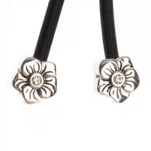 Silver Flower Crystal Accent Charms on Black Elastic Cord with Silver-tone Pulleez clasp