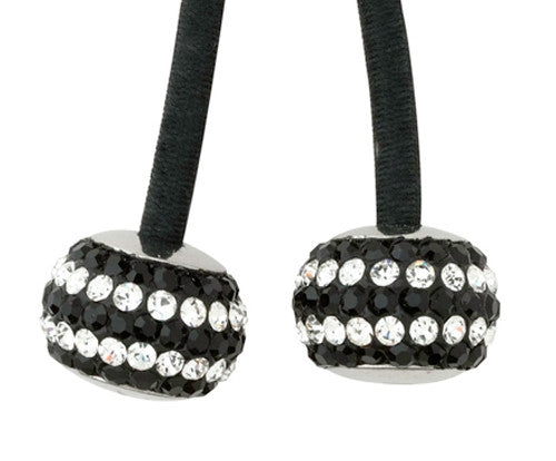 Ponytail Holder with Black Elastic and Jet  Silver Stripe Crystal Studded Ornament