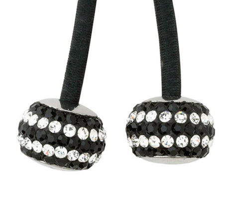 Jet/Silver Stripe Puff Crystal Charms