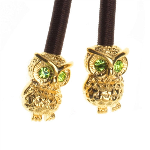 Gold Owl Crystal Accent Charms on Brown Elastic Cord with Gold-tone Pulleez clasp