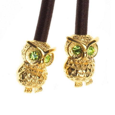 'Hootie' the Owl Gold with Emerald Crystal Accent