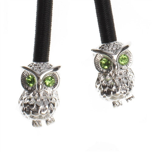 Silver Owl Crystal Accent Charms on Black Elastic Cord with Silver-tone Pulleez clasp