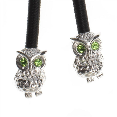 'Hootie' the Owl Silver with Emerald Crystal Accent