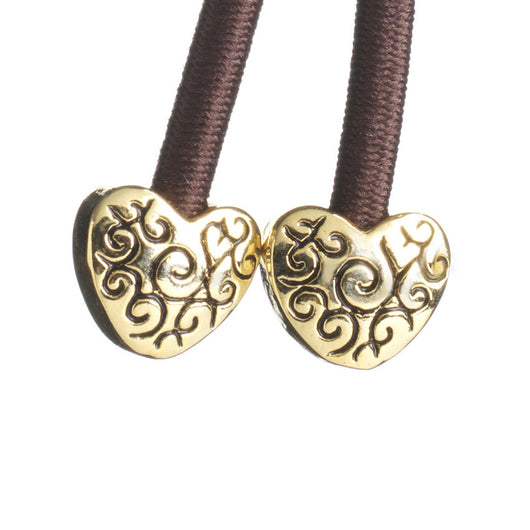 Pulleez sliding ponytail holder with gold heart charms