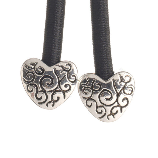 Pulleez sliding ponytail holder with silver heart charms