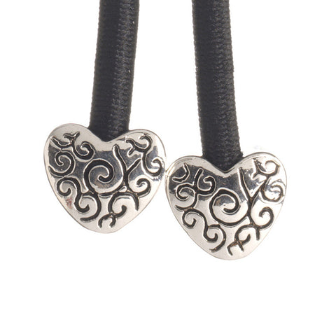 Heart Silver on Black
