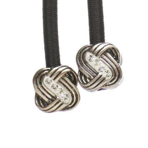 'Knot' Pave Silver on Black