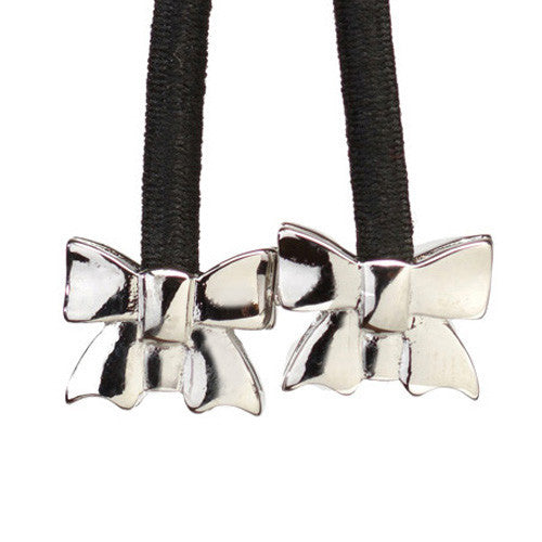 Silver Bow on Black Cord