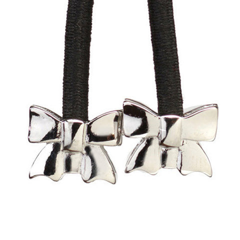 Bow Silver on Black Cord