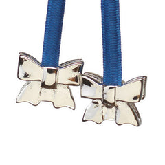 Bow Silver on Blue Cord
