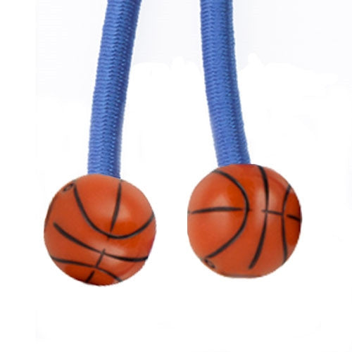 Sporteez sliding ponytail holder with basketball charms on blue elastic cord