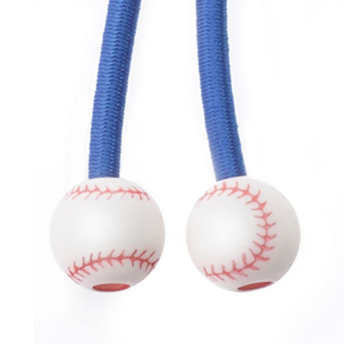 Sporteez sliding ponytail holder with baseball charms on blue elastic cord