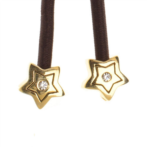 Gold Star Crystal Accent Charms on Brown Elastic Cord with Gold-tone Pulleez Clasp