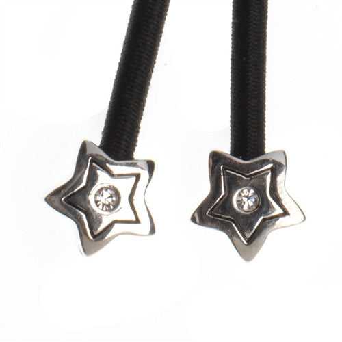 Silver Star Crystal Accent Charms on Black Elastic Cord with Silver-tone Pulleez clasp