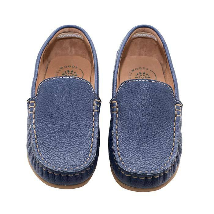 Navy Leather Loafer - Children