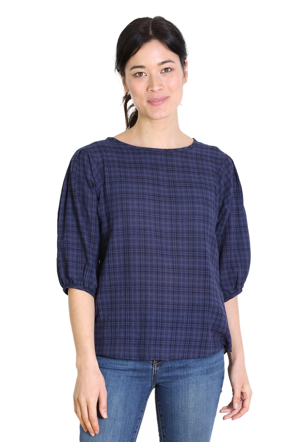 Thelma Seer Blouse - Navy