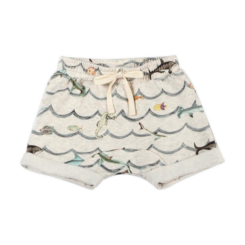 Paper Wings French Terry Shorts - Animal Wave