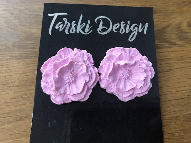 Tarski Design Earrings - Pink Flower Stud