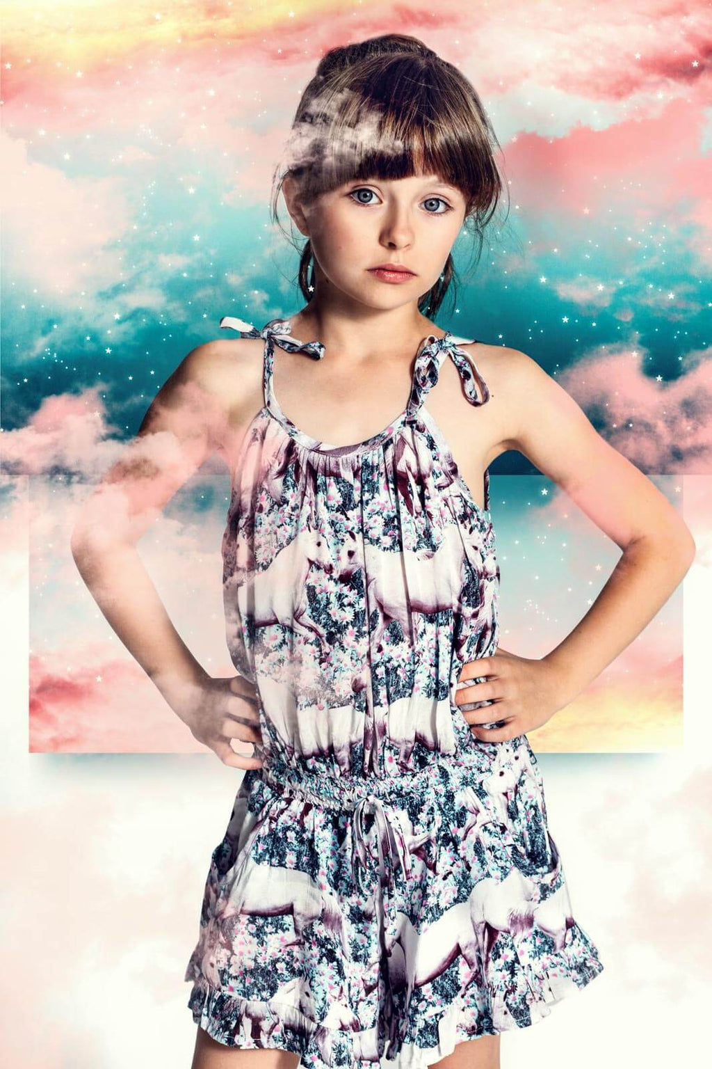 Frilled Romper with Ties - Dream Field by Paper Wings