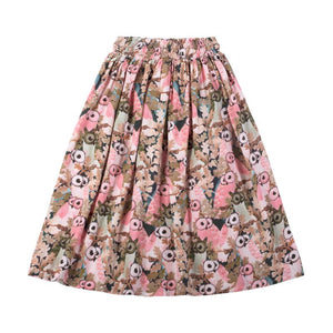 Paper Wings Shirred Skirt - Owls