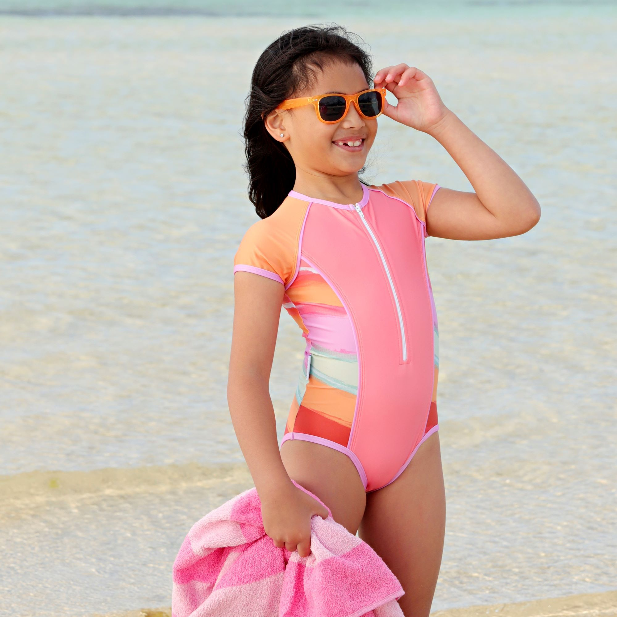 SHORT SLEEVE ZIP ONE PIECE - RETRO VIBES GIRLS JUNIOR