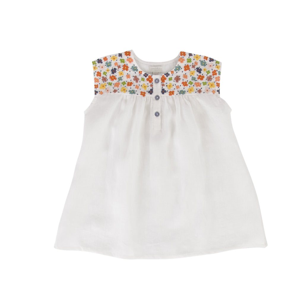 Eloise Dress White cotton/linen - by Peggy