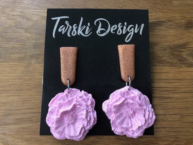 Tarski Design Earrings - Pink Flower Dangle