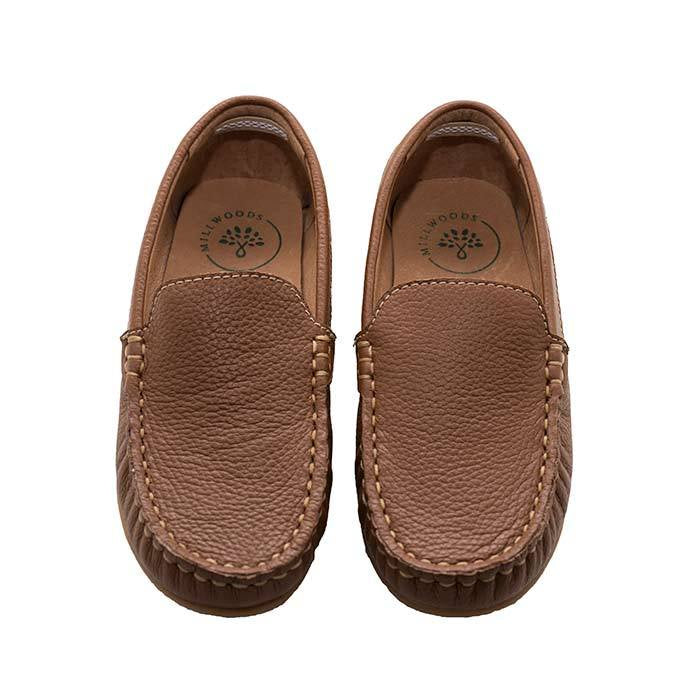 Tan Leather Loafer - Children