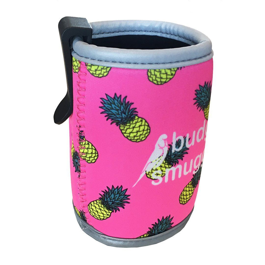Pink Pineapple Stubby Holder with Clip