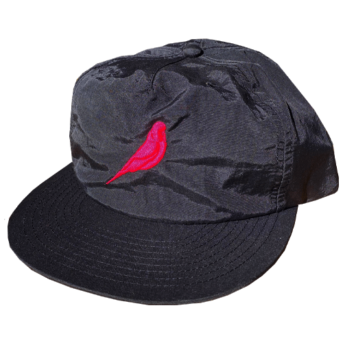 Black Surf Cap with Pink Budgy