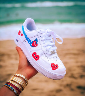 Blue and Red Heart Print