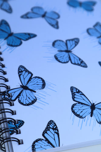 Blue Butterfly Drips Spiral Notebook