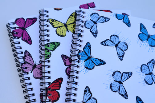 3 Pack of Butterfly Spiral Notebooks