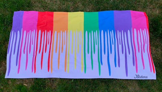 Rainbow Drip Beach Towel