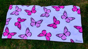 Pink Butterfly Beach Towel