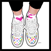 LV Rainbow Sneakers Painting
