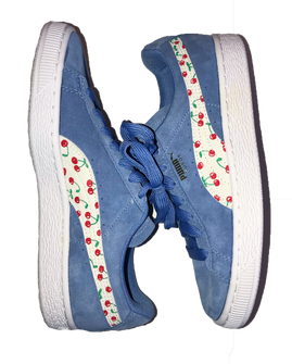 Cherry Print Custom Blue Sneaker