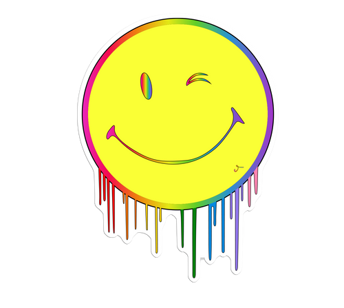 Rainbow Smiley Face Drips Sticker